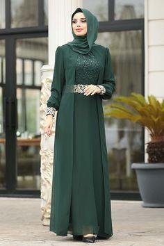 Hijab Style Dress, Modest Fashion Hijab, Abaya Fashion, Fashion Dresses, Hijab Dress Party, Hijab Evening Dress, Green Evening Dress, Evening Dresses, Mode Abaya