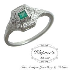 Art Deco Inspired 18ct white gold emerald and diamond ring.  Visit us at www.klepners.com.au