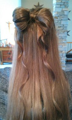 Hair bow with ribbon! easy and cute!
