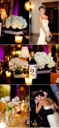 "Vases again and the wine bottle for the table numbers - we could do this and put a very ""Oregon"" spin on it using local wines.  LOVE."