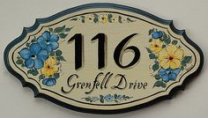 Hand painted scalloped wooden house number / address plaques, painted on a light yellowish background. Plaque can be customized with your address, House Plaques, House Number Plaque, Wood Plaques, Large House Numbers, Ceramic House Numbers, Ceramic Houses, Address Plaque, Blue Bonnets, Tropical Decor