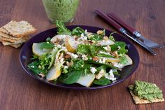 Spinach combines perfectly with pears and walnuts in this classic salad. If you prefer, apples can be used instead of pears. This recipe accommodates all sorts of substitutions - a handful of berries can be tossed in if desired!