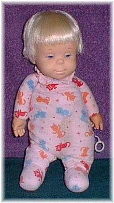 """Mattel Drowsy. 1964. She talked: one of her phrases was """"I go sleep now, night-night."""" So cuddly to sleep with.  This is the original sleeper she wore with a drop seat."""