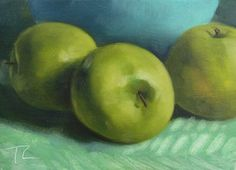 """Apples"", Original Painting, Size: 5"" x 7"", Materials: Oil on linen panel"