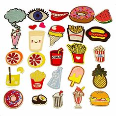 cartoon food sushi hot dog drink Sew on Iron on embroidered patch kids  clothes f361fa9b745a