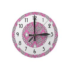 Pink and Gray Diamond Ikat Pattern Round Wallclock