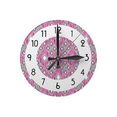 Pink and Gray Diamond Ikat Pattern Round Wallclock