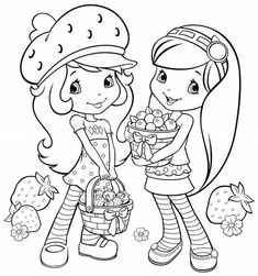Printable Coloring Pages Cartoon Strawberry Shortcake And Friends . Coloring Pages For Girls, Cartoon Coloring Pages, Coloring For Kids, Printable Coloring Pages, Coloring Sheets, Coloring Books, Colouring, Strawberry Shortcake Cartoon, Easy Drawing Steps