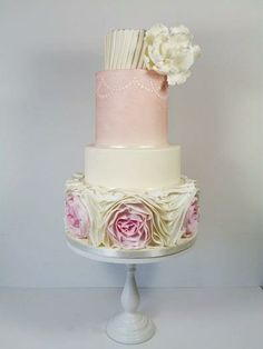 Pretty in pink- omber ruffle wedding cake by Little Miss Fairy Cakes. With Sharon Wee fondant ruffles. Wedding Cake Roses, Beautiful Wedding Cakes, Beautiful Cakes, Lilac Wedding, Wedding Art, Elegant Wedding, Ruffle Cake, Fondant Ruffles, Fondant Rose