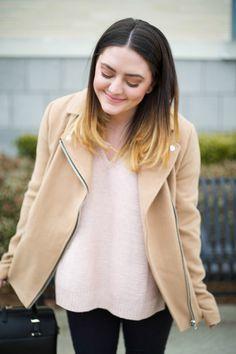 Mae Amor- Boxy Camel Colored zipper Jacket, Coated Skinny Jeans, Karen Walker Bag, Pink Knit Sweater, Medium Ombre Hair