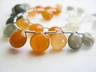 Smooth Peach Moonstone Heart Briolettes, 8-9mm, AAA, half a strand,  13 briolettes. $28.50, via Etsy., $28.5