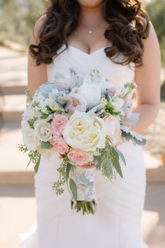 Pastel peony + lambs ear bouquet: Photography : heidi-o-photo Read More on SMP: http://www.stylemepretty.com/california-weddings/ramona-california/2016/04/13/rustic-pastel-wedding-with-gorgeous-soft-pink-florals/