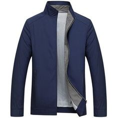 Business Casual Thin Stand Collar Solid Color Jackets for Mensales-NewChic Mobile