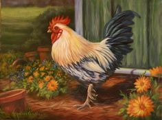 Chicken painting by Kathleen Keil Hill