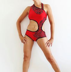 Pole Art red and black dance costume for performance and competition, dance wear, salsa shine bodysuit