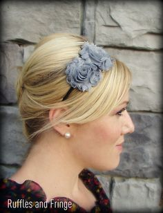 Shabby Chic Headband in Charcoal Grey for Women and Girls