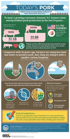 50 years of improvements make today's pork more sustainable than ever. 78% less…                                                                                                                                                                                 More