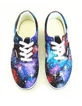 Fantastic Multicolor Cloud And Star Print Lace Up Painted Shoes  $48.39