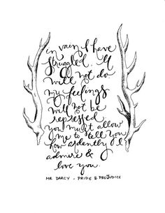 $3 instant printable. Mr. Darcy quote from Pride and Prejudice.