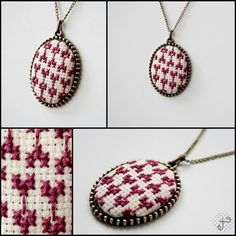 Exedesign beatrix kanaviçe kolye You can find more information about branded exquisite cross-stitch necklace by exedesign. Hand Work Embroidery, Embroidery Patterns, Hand Work Design, Clay Earrings, Handicraft, Work Bags, Crochet Necklace, Cross Stitch, Pendants