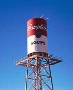 Campbell Soup - water tower located at the Camden, New Jersey headquarters of Campbell's® Soup. (My grandfather used his farm in Hamilton/Mercer Cty, NJ to grown tomatoes for Campbells)