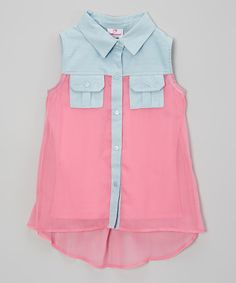 Look at this Dollhouse Pink Pocket Top - Girls on #zulily today!