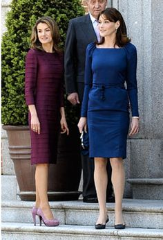 (L-R) Princess Letizia of Spain, First Lady Carla Bruni-Sarkozy of France and King Juan Carlos of Spain