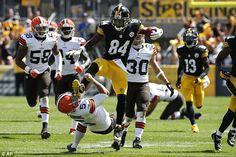 Pittsburgh Steelers' Antonio Brown karate kicks Cleveland Browns ...