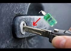 14 Winter Car Hacks - Odometer.com  De-ice keyholes  Just put some hand sanitizer on your key as your try to use it to unlock your car. The alcohol in the hand sanitzer will melt the ice and shortly allow you to unlock your car. Sometimes putting WD-40 in the keyhole before the winter will keep any ice from forming in there in the first place.