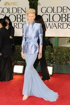 2012 As always, Tilda Swinton brought a fresh feel to the red carpet with an icy blue Haider Ackermann dress for the Golden Globes. - ELLE.com