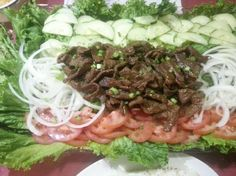 A favorite, classic simple Khmer dish. This recipe does stuff I wouldn't do. Use grass fed filet mignon. I would cook the rice before anything, refrigerate the beef while I make the dipping sauce, and use both white and black pepper. Elephant Walks Loc Lac (Cambodian Beef With Lime Dipping Sauce). Photo by msmcalpine