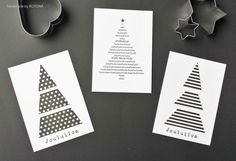 DIY black and white #Christmas #cards. www.facebook.com/kotona.sisustustuotteet