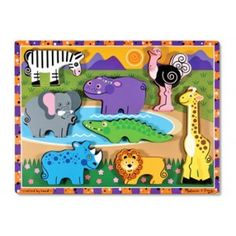 Melissa and Doug - Safari Chunky Puzzle: African animal favourites are featured on this extra thick wooden puzzle. 8 easy-grasp, chunky wild animal pieces have a full-colour, matching pictures underneath. The animal pieces stand upright for pretend play. Encourages eye-hand, fine motor and creative expression skills. #alltotstreasures #melissaanddoug #safarichunkypuzzle #woodentoys #chunkypuzzle #puzzle #safari #handeyecoordination #leaning #elephant #zebra