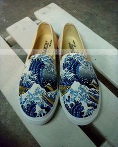 The Great Wave off Kaganawa Slip-on Painted Canvas #Shoes