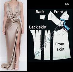 Dress Making Patterns, Skirt Patterns Sewing, Clothing Patterns, Wedding Dress Patterns, Pattern Sewing, Look Fashion, Diy Fashion, Fashion Outfits, Origami Fashion