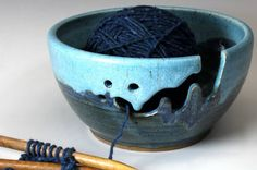 Love, love, love yarn bowls!    Bridges Pottery Large Yarn Bowl Knitting Bowl Large Blue and  Turquoise  Showcased by Vogue KNitting IN STOCK. $50.00, via Etsy.
