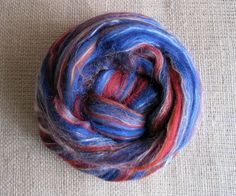 Superman  Merino Top Tussah Silk Spinning Felting by GnomeAcres, $15.00