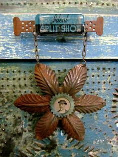 Antique Tintype Assemblage Art Brooch / by SalvageArtSweetheart, $65.00