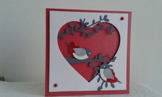 Valentines card. Stampin up build a bird punch.