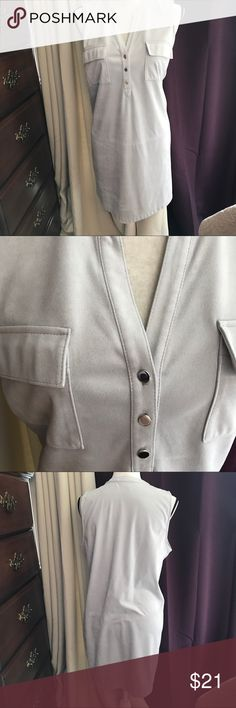 """So comfy dress👗 Worn Once👗. Silver Suade  like material is warm , but sleeveless. 👗.    3 silver buttons in the front (real button holes). 2 real pockets in the front. In New condition. 👗 22"""" from armpit to armpit. 👗Dress is 35"""" long. Looks great with gray or black boots.  👗 no flaws, no odors. Premise Dresses"""
