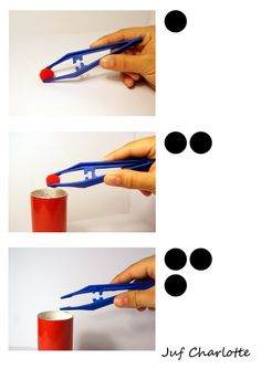 Stappenplan fijne motoriek. Probeer de gekleurde pompon in de koker van dezelfde kleur te krijgen.