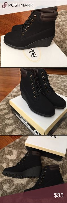 Brand new These stylish and comfy wedge booties feature a nubuck faux leather upper with a lace up tie design, traction soles, stitched trim, smooth lining, and cushioned footbed. Approximately 3 inch wedge heels. Shoes Wedges