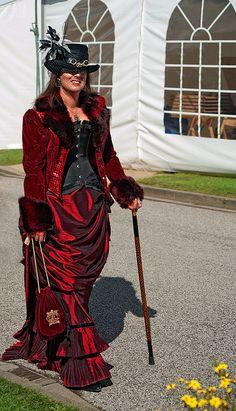 Gorgeous dupioni silk steampunk gown.