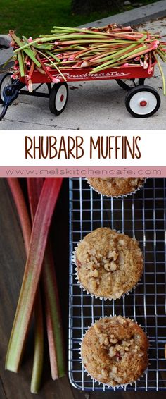 These Brown Sugar Rhubarb Muffins with A Little Bit of Streusel On Top are pretty much the perfect way to use rhubarb. Pretty good and stayed moist! Rhubarb Desserts, Rhubarb Recipes, Fruit Recipes, No Bake Desserts, Sweet Recipes, Rhubarb Dishes, Rhubarb Ideas, Cooking Rhubarb, Rhubarb Cake