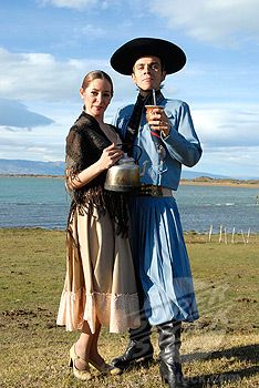 Image detail for -- Argentina, El Calafate, mate drinking couple in traditional ...