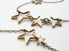 Layered statement necklace multiple stars long por SoraDesignsBlack