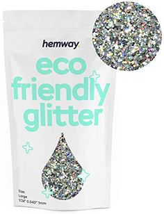 """Hemway Eco Friendly Biodegradable Glitter 100g / 3.5oz Bio Cosmetic Safe Sparkle Vegan for Face, Eyeshadow, Body, Hair, Nail and Festival Makeup, Craft - 1/24"""" 0.04"""" 1mm - Silver Holographic Eco Store, Eco Products, Festival Makeup, Cosmetic Packaging, Holographic, Biodegradable Products, Eco Friendly, Eyeshadow, Sparkle"""