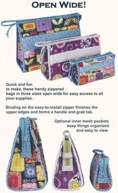 Love This : Open Wide! zippered bag sewing pattern by Annie Unrein Bag Sewing Pattern, Bag Patterns To Sew, Sewing Patterns Free, Sewing Tutorials, Sewing Crafts, Sewing Projects, Sewing Ideas, Textiles, Fabric Bags