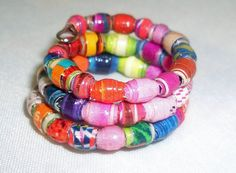 ♠✯ #Vibrant Micro Multi Colors Paper Bead Wrap Finger #Ring -- Size 5 by Cu... #upcycle http://etsy.me/2g0i8cR