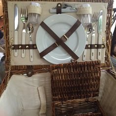 Large Vintage Picnic Basket with Dinnerware by SouthernLadyEstates